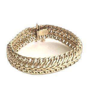 Vintage 14k Gold Woven Chain Link Bracelet Solid